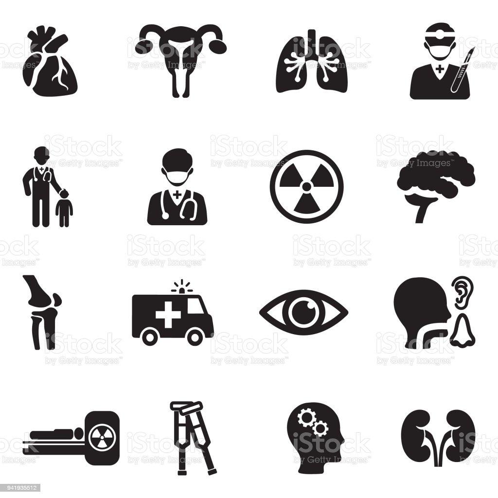 Icônes de services hospitaliers. Design plat noir. Illustration vectorielle. - Illustration vectorielle