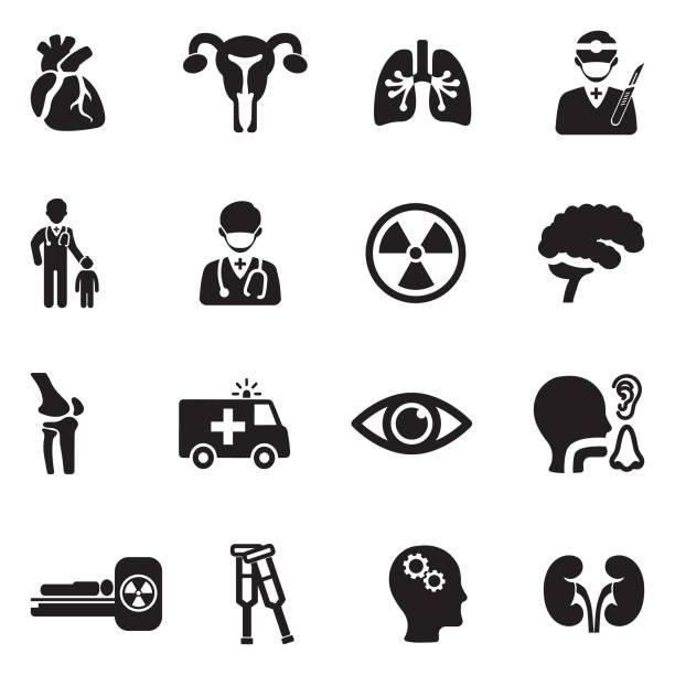 hospital departments icons. black flat design. vector illustration. - surgeon stock illustrations, clip art, cartoons, & icons