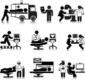 Vectored pictograms of hospital departments from Accident and Emergency (A&E) to Discharge Lounge. This format can be blown up to any size without loss of quality.