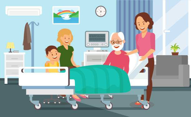 bildbanksillustrationer, clip art samt tecknat material och ikoner med sjukhus urladdning platt vektor illustration - sjukhusavdelning