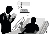 A vector silhouette illustration of a male doctor looking up infomation on a tablet that is decripted by his patient lying an a hospital bed.