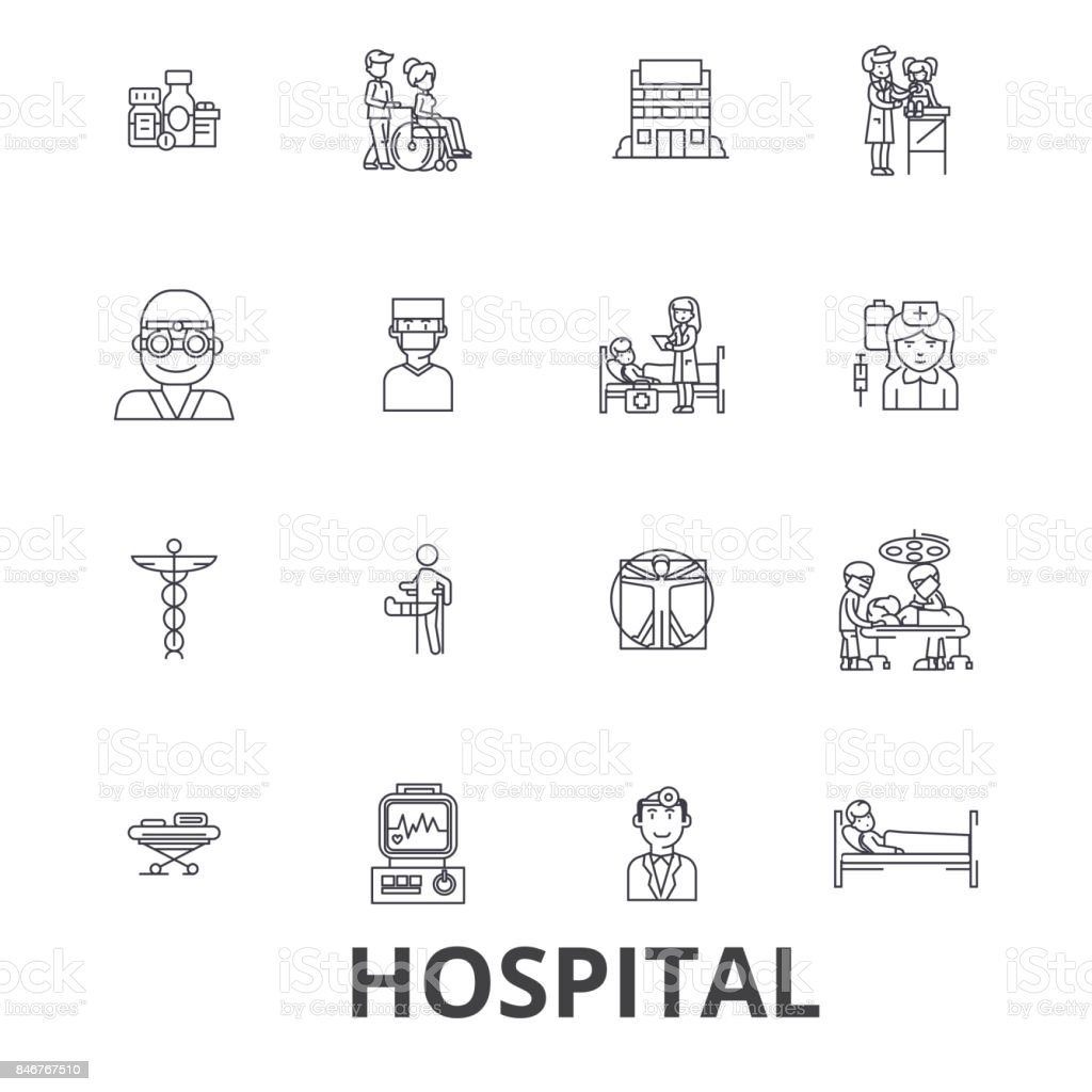 Hospital, doctor, medical, healthcare, nurse, health, hospitality, patient line icons. Editable strokes. Flat design vector illustration symbol concept. Linear signs isolated vector art illustration