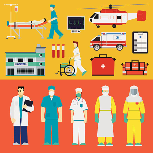 Hospital - Doctors Doctors, nurses and medical equipment male nurse stock illustrations