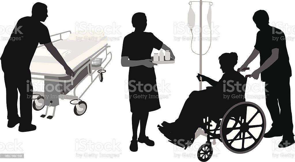 Hospital Duties Vector Silhouette royalty-free stock vector art