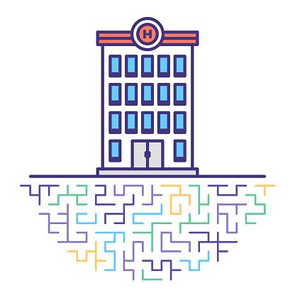 Hospital Emergency Flat Line Icon Illustration