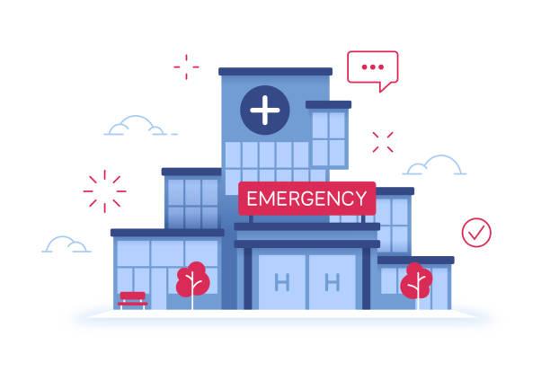 bildbanksillustrationer, clip art samt tecknat material och ikoner med sjukhus akutmottagning medicinsk vård anläggning byggnad - hospital