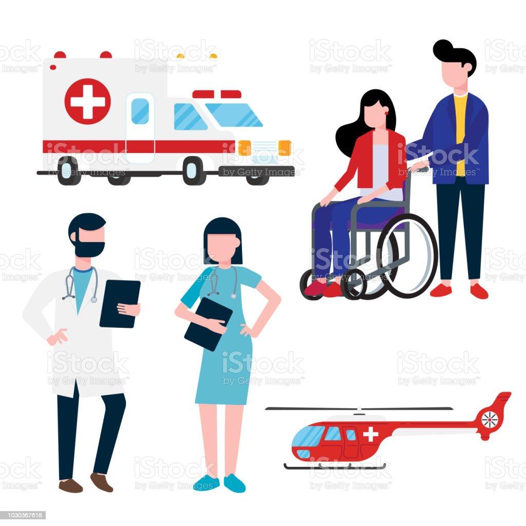 Krankenhaus-Mitarbeiter und Verkehr inmitten Konzept mit Arzt, Krankenschwester, Patienten, Hubschrauber und Krankenwagen Auto flach Stil. Arzt, Krankenschwester, Frau Rollstuhl, Krankenwagen, Hubschrauber auf hintergrund isoliert. – Vektorgrafik