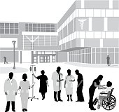 A vector silhouette illustration of hospital staff and patients standing outside in front of a hospital building. There is a a nurse and doctor with clipboard, woman holding an iv pole, an elderly man, and a female nurse using a stethoscope on a young man in a wheelchair.