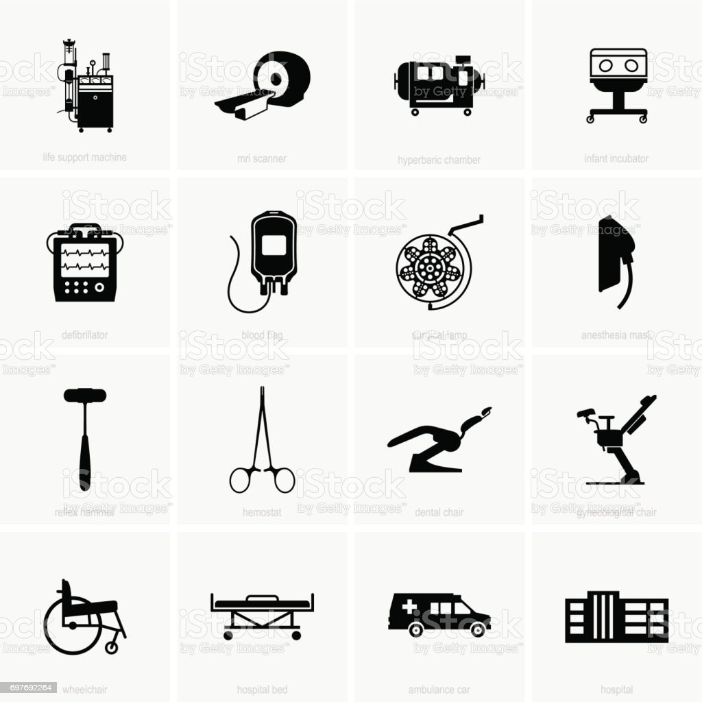 Hospital equipment vector art illustration
