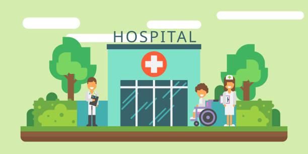 Krankenhaus Fassade und Krankenwagen Auto Vektor flach. Verschiedene modische Farben – Vektorgrafik