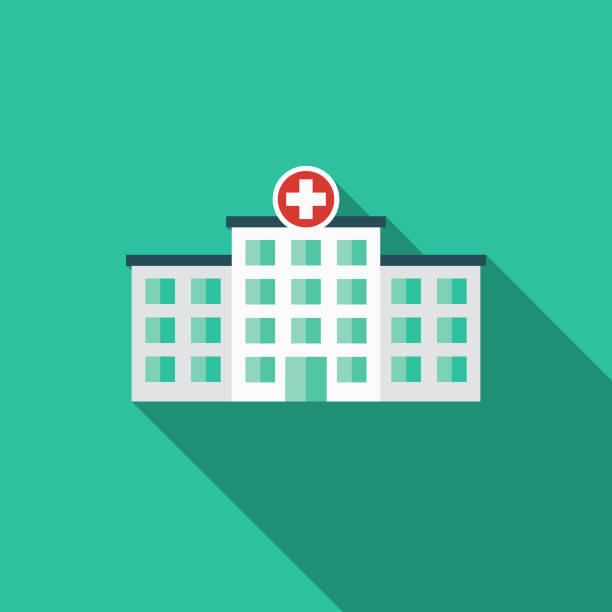 hospital flat design emergency services icon - hospital stock illustrations