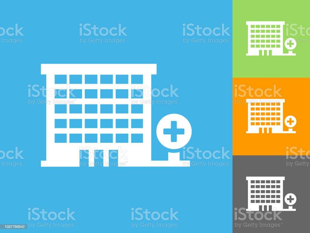 Hospital Flat Icon on Blue Background vector art illustration