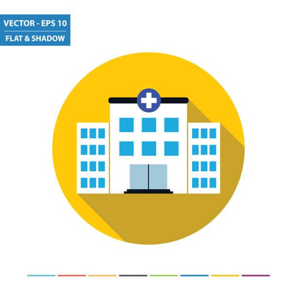 Hospital flach icon mit langen Schatten – Vektorgrafik