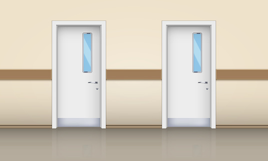 Hospital hall and medical doors.