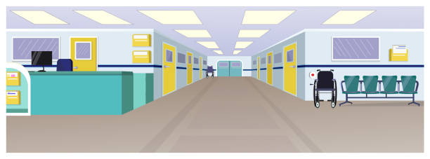 Hospital hall with reception, doors in corridor and chairs Hospital hall with reception, doors in corridor and chairs vector illustration. Clinic interior. Hospital concept. For websites, wallpapers, posters or banners. hospital background stock illustrations