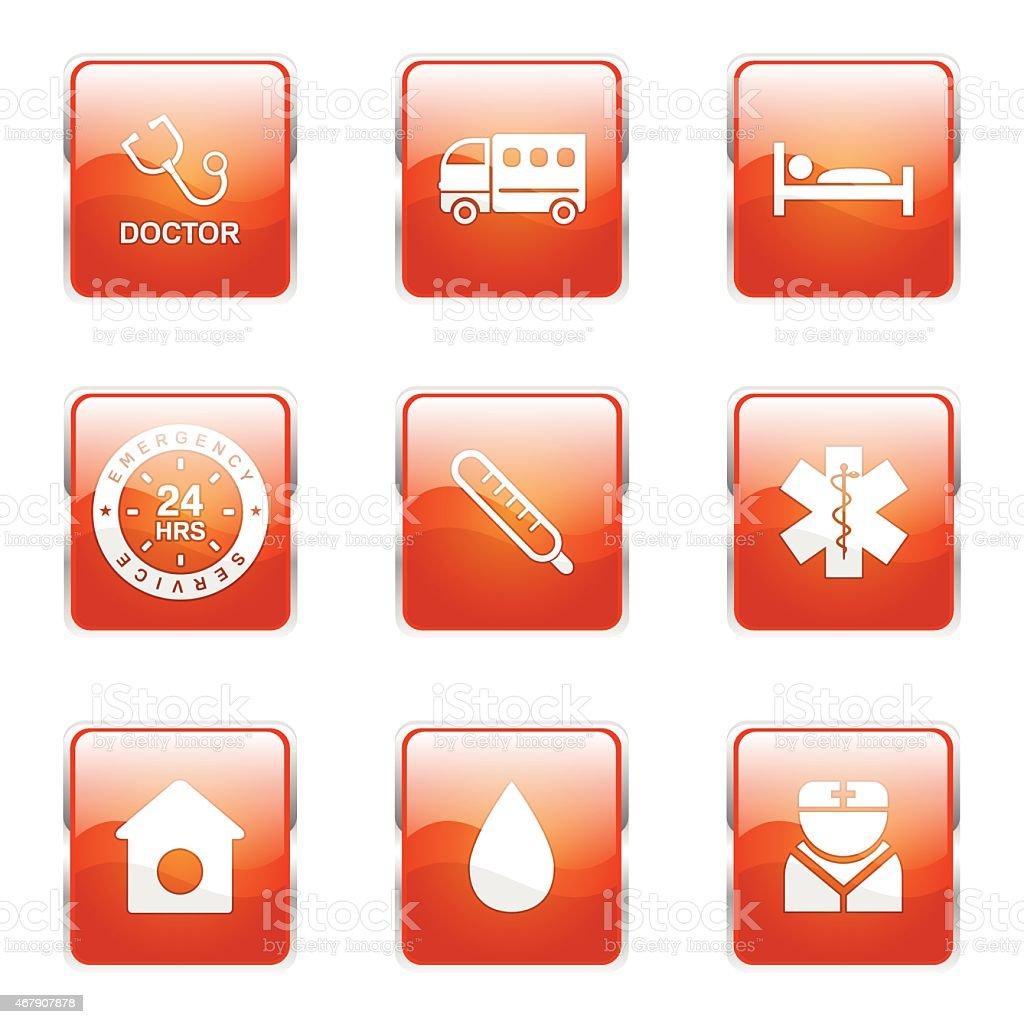Hospital Health Square Vector Orange Icon Design Set 2 Stock Vector