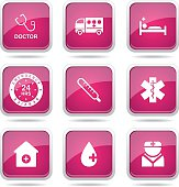 Hospital Health Square Vector Pink Icon Design Set 2
