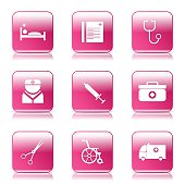 Hospital Health Square Vector Pink Icon Design Set