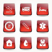 Hospital Health Square Vector Red Icon Design Set 2