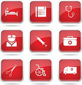 Hospital Health Square Vector Red Icon Design Set