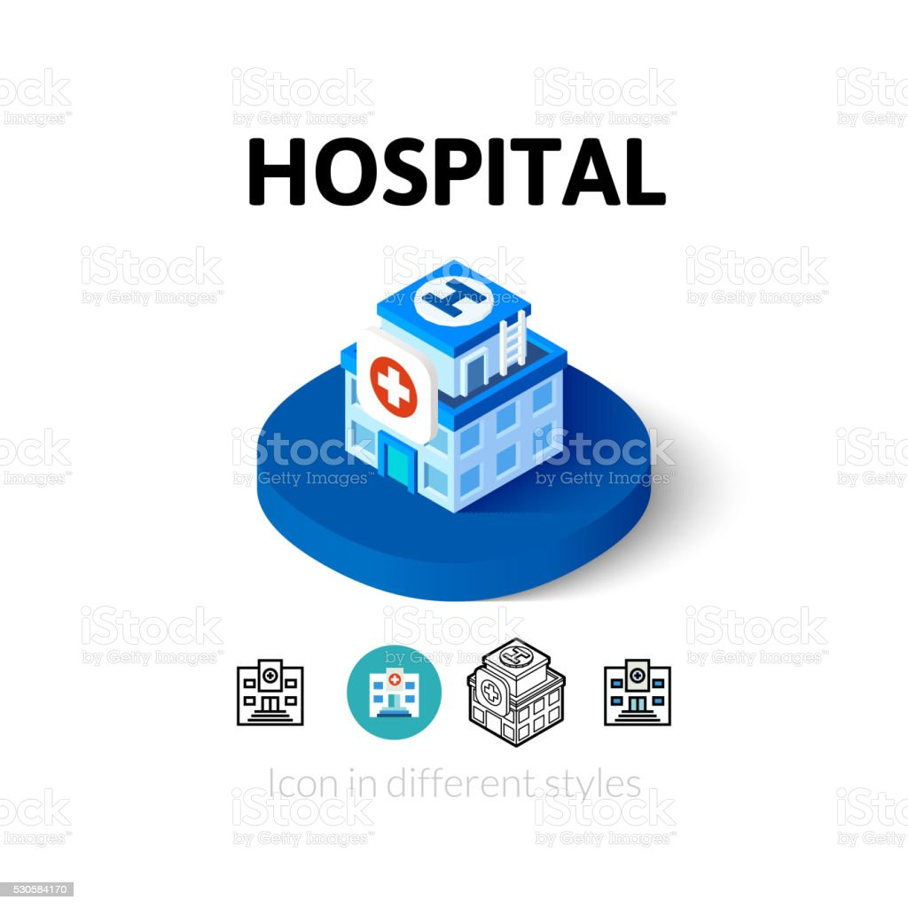 Hospital icon in different style vector art illustration