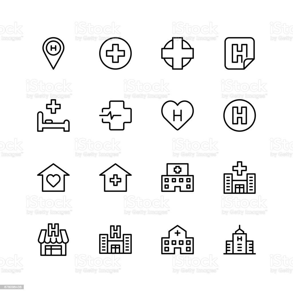 Hospital icon set - arte vettoriale royalty-free di Accudire