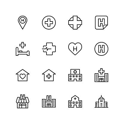 Hospital Icon Set - Immagini vettoriali stock e altre immagini di Accudire