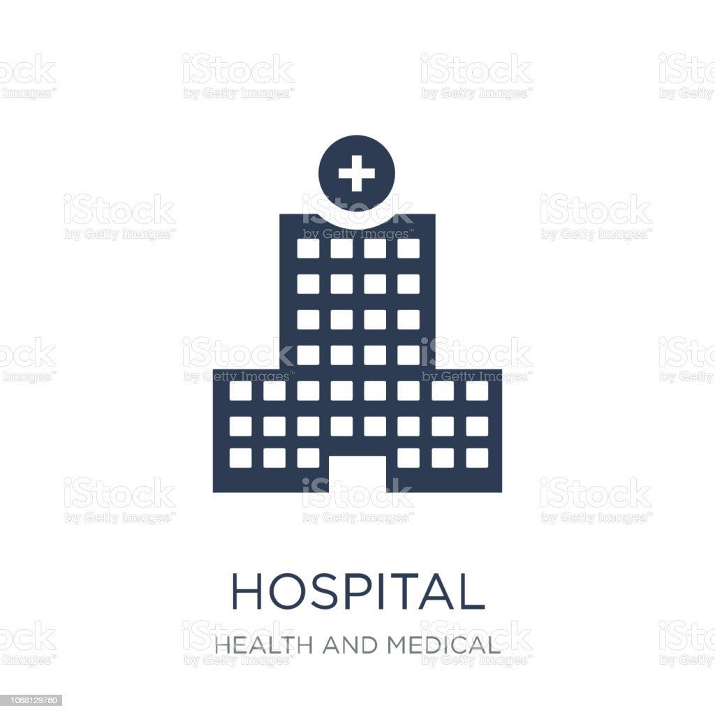 Hospital icon. Trendy flat vector Hospital icon on white background from Health and Medical collection vector art illustration