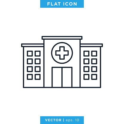 Hospital icon vector design template. Editable stroke.