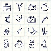 Vector File of Doodle Hospital Icon Set