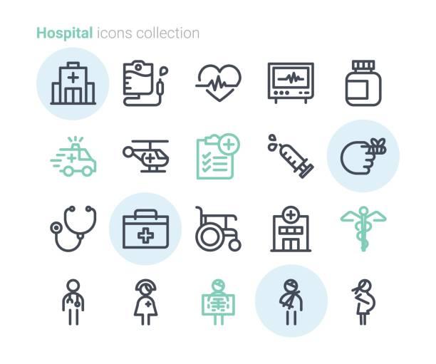ilustrações, clipart, desenhos animados e ícones de coleção de ícones de hospital - enfermeira