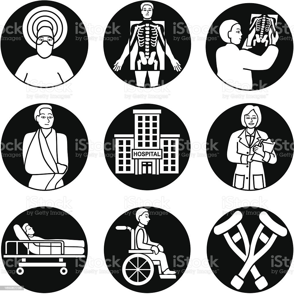 hospital icons reversed royalty-free stock vector art