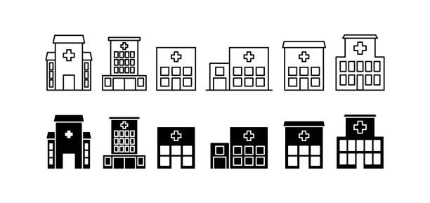 醫院圖示設置, 向量插圖 - 診所 幅插畫檔、美工圖案、卡通及圖標