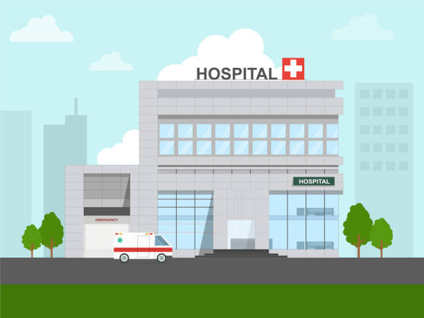 hospital in the city - hospital stock illustrations