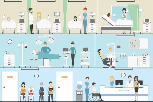 bildbanksillustrationer, clip art samt tecknat material och ikoner med sjukhuset inomhus anges. - sjukhusavdelning