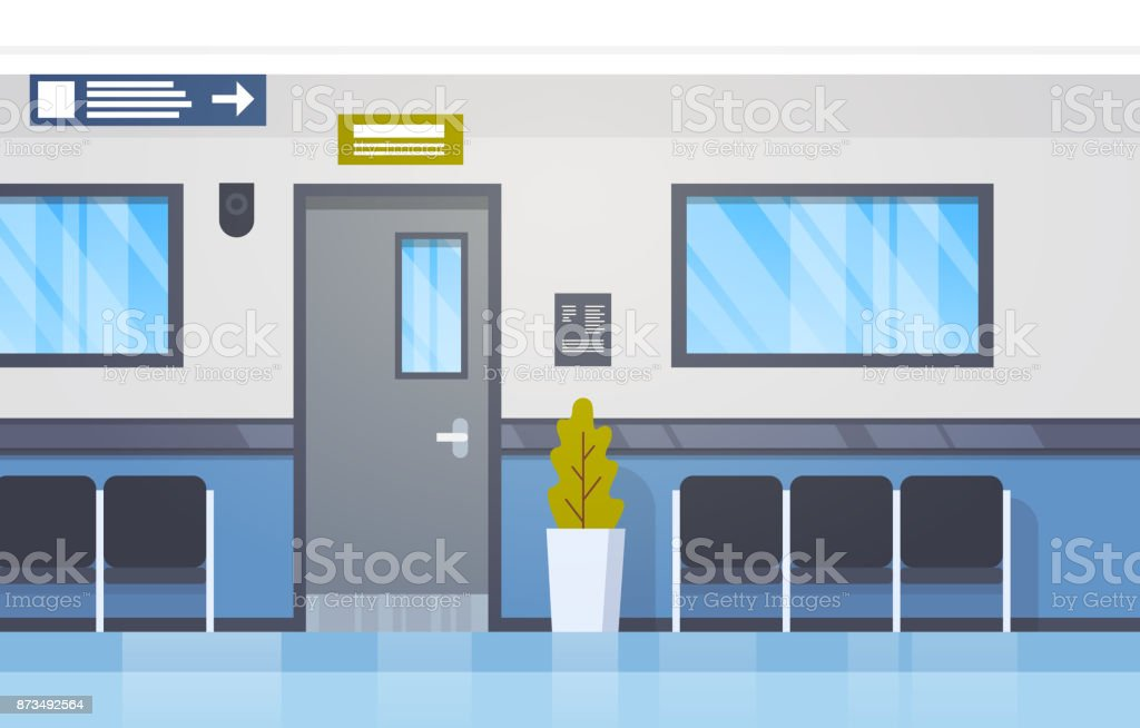 Hospital Interior Empty Hall With Seats And Door Modern Clinic Corridor royalty-free hospital interior  sc 1 st  iStock & Hospital Interior Empty Hall With Seats And Door Modern Clinic ...