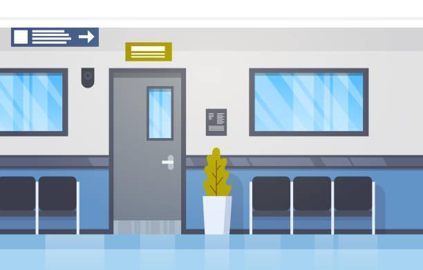 krankenhaus innere leere halle mit sitzplätzen und tür-moderne klinik-korridor - rezeptionseingang stock-grafiken, -clipart, -cartoons und -symbole