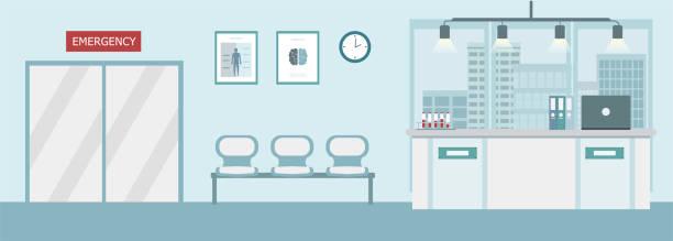 Hospital interior or clinic vector art illustration