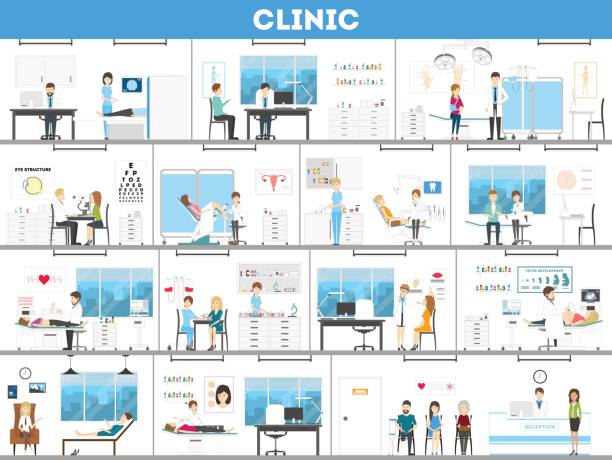 Hospital interior set. vector art illustration