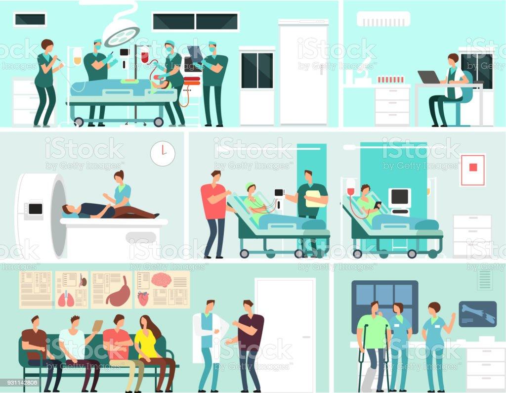 Hospital interiors with patients, doctors, nurse and medical equipment. Medicine service vector concept vector art illustration
