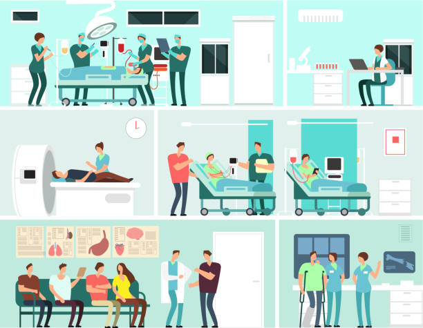 Hospital interiors with patients, doctors, nurse and medical equipment. Medicine service vector concept vector art illustration