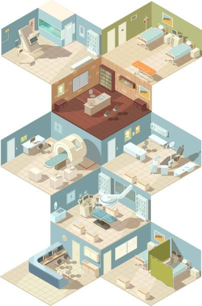 bildbanksillustrationer, clip art samt tecknat material och ikoner med sjukhus isometrisk uppsättning 3 - sjukhusavdelning