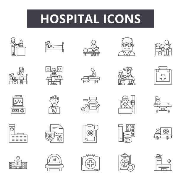 Hospital line icons, signs, vector set, linear concept, outline illustration Hospital line icons, signs, vector set, outline concept linear illustration hospital bed stock illustrations
