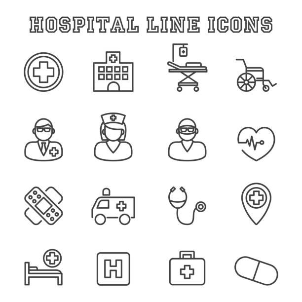 hospital line icons - surgeon 幅插畫檔、美工圖案、卡通及圖標