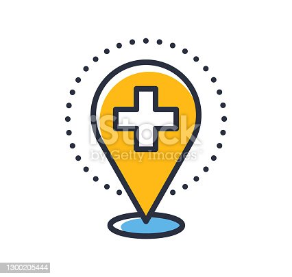 istock Hospital location icon. Medical location icon isolated on white background. Design elements, colored. Element for mobile concepts and web apps.  Flat style vector illustration. 1300205444