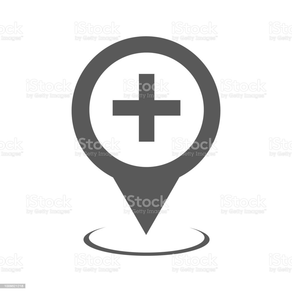 Hospital Map Pointer Icon Vector Simple Stock Illustration