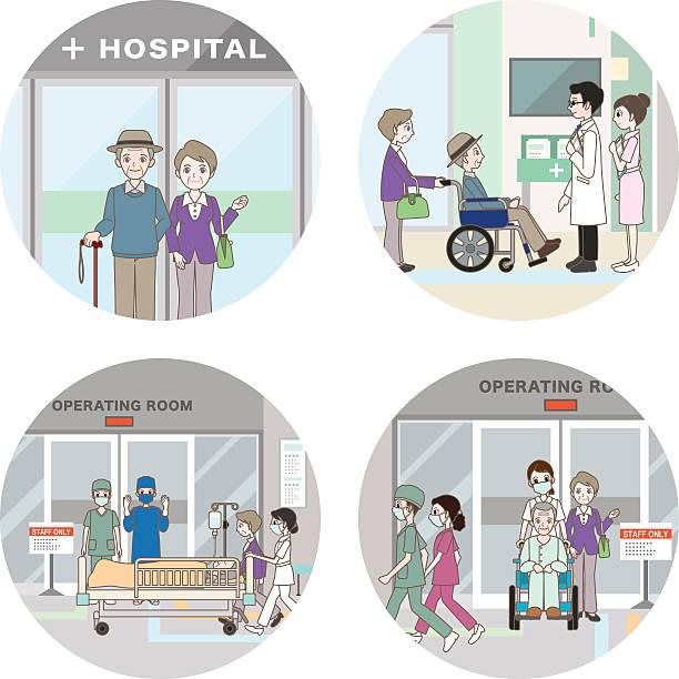 hospital / medical care - old man mask stock illustrations