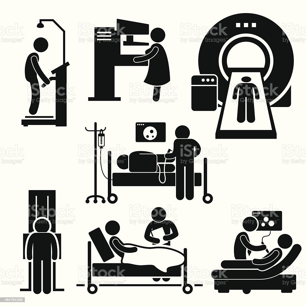 Hospital Medical Checkup Screening Diagnosis Diagnostic Cliparts vector art illustration