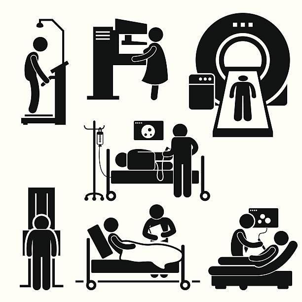 hospital medical checkup screening diagnosis diagnostic cliparts - cancer patient stock illustrations