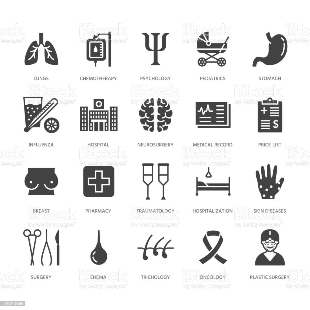 Hospital, medical flat glyph icons. Human organs, stomach, brain, flu, oncology, plastic surgery, psychology breast cancer Health care clinic signs. Solid silhouette pixel perfect 64x64 vector art illustration